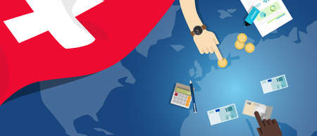 fiscal: switzerland economy fiscal money trade concept illustration of financial banking budget with flag map and currency