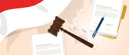 legal law: Indonesia law constitution legal judgement justice legislation trial concept using flag gavel paper and pen Illustration