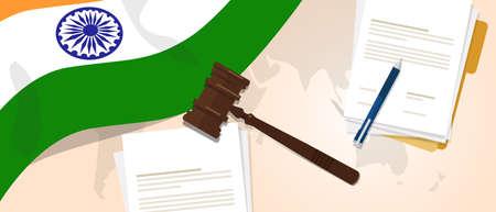 legal law: India law constitution legal judgement justice legislation trial concept using flag gavel paper and pen Illustration