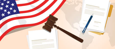 international criminal court: USA United States of America law constitution legal judgement justice legislation trial concept using flag gavel paper and pen