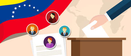 democracy: Venezuela democracy political process selecting president or parliament member with election and referendum freedom to vote Illustration