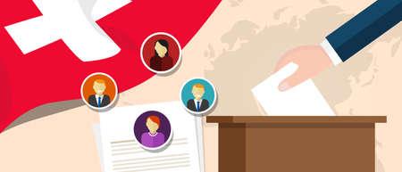Zwitserland Zwitserse democratie politieke proces kiezen van president of parlementslid met verkiezing en referendum vrijheid om te stemmen vector