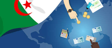Algeria economy fiscal money trade concept illustration of financial banking budget with flag map and currency
