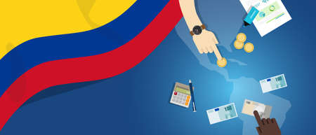 fiscal: Colombia economy fiscal money trade concept illustration of financial banking budget with flag map and currency