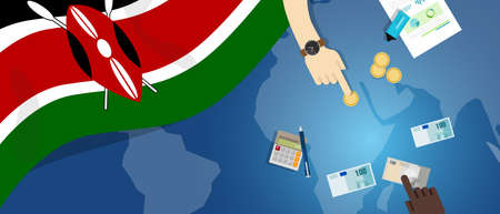 Kenya economy fiscal money trade concept illustration of financial banking budget with flag map and currency