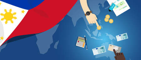 fiscal: Philippines economy fiscal money trade concept illustration of financial banking budget with flag map and currency Illustration
