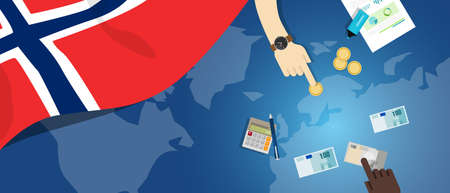 norway flag: Norway economy fiscal money trade concept illustration of financial banking budget with flag map and currency Illustration