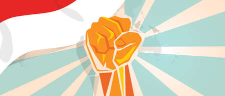 Indonesia Indonesian fight and protest independence struggle rebellion show symbolic strength with hand fist illustration and flag Vectores