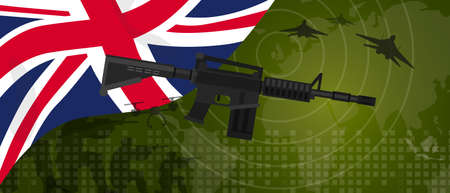 UK United Kingdom England Britain military power army defense industry war and fight country national celebration with gun soldier jet fighter and radar