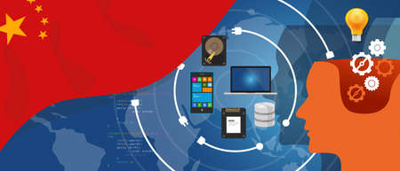 china business: China IT information technology digital infrastructure connecting business data via internet network using computer software an electronic innovation