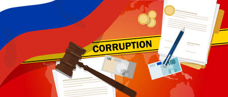 financial official: Russia fights corruption money bribery financial law contract police line for a case scandal government official vector Illustration
