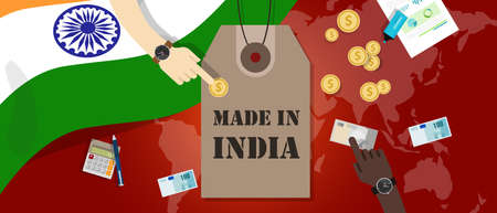 Made in India price tag illustration badge export patriotic business transaction