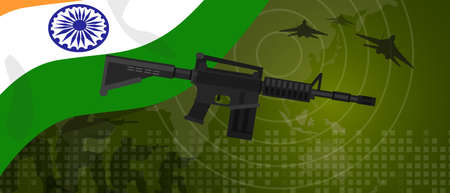 India military power army defense industry war and fight country national celebration with gun soldier jet fighter and radar
