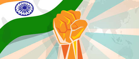 boycott: India fight and protest independence struggle rebellion show symbolic strength with hand fist illustration and flag
