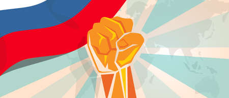 boycott: Russia fight and protest independence struggle rebellion show symbolic strength with hand fist illustration and flag Illustration