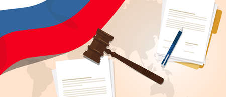 legal law: Russia law constitution legal judgment justice legislation trial concept using flag gavel paper and pen