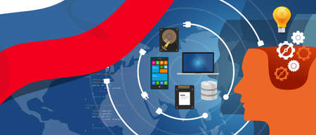 Russia IT information technology digital infrastructure connecting business data via internet network using computer software an electronic innovation Illustration