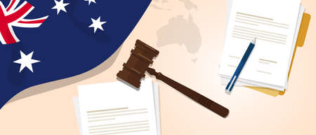 legal law: Australia law constitution legal judgment justice legislation trial concept using flag gavel paper and pen.