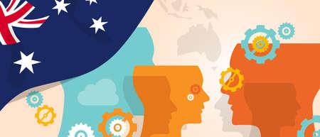 different thinking: Australia concept of thinking growing innovation discuss country future brain storming under different view represented with heads gears and flag.