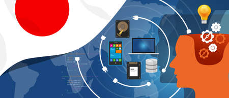 wireless telephone: Japan IT information technology digital infrastructure connecting business data via internet network using computer software an electronic innovation.