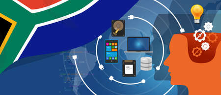 electronic: South Africa IT information technology digital infrastructure connecting business data via internet network using computer software an electronic innovation.
