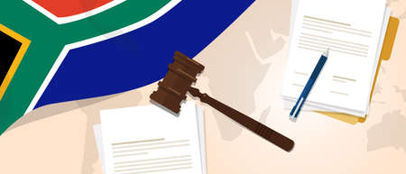 international criminal court: South Africa law constitution legal judgment justice legislation trial concept using flag gavel paper and pen Illustration