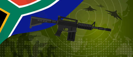 power industry: South Africa military power army defense industry war and fight country national celebration with gun soldier jet fighter and radar Illustration