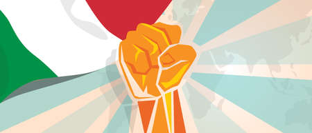 Italy fight and protest independence struggle rebellion show symbolic strength with hand fist illustration and flag