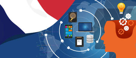 computer data: France IT information technology digital infrastructure connecting business data via internet network using computer software an electronic innovation