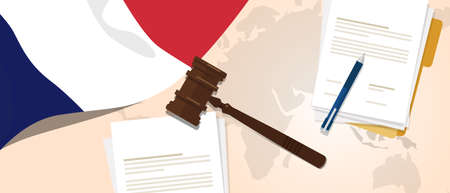 France law constitution legal judgment justice legislation trial concept using flag gavel paper and pen
