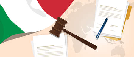 Italy law constitution legal judgment justice legislation trial concept using flag gavel paper and pen Vettoriali