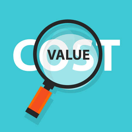 business focus: Cost value concept business magnifying word focus on text