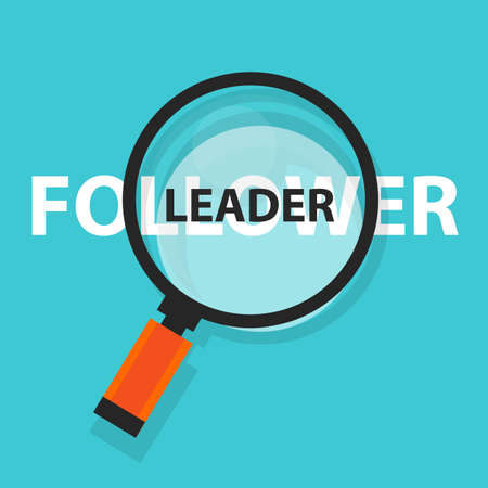 business focus: leader follower concept business magnifying word focus on text