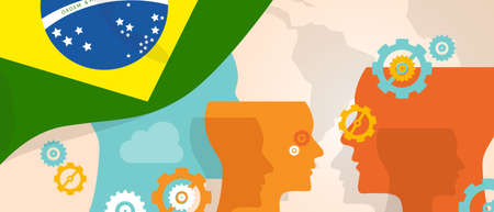 Brazil concept of thinking growing innovation discuss country future brain storming under different view represented with heads gears and flag Illustration