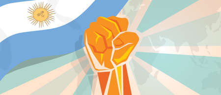 boycott: Argentina fight and protest independence struggle rebellion show symbolic strength with hand fist illustration and flag Illustration