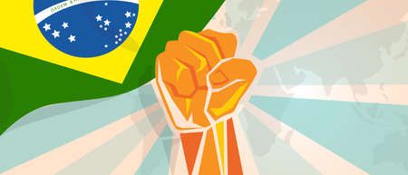 Brazil fight and protest independence struggle rebellion show symbolic strength with hand fist illustration and flag Illustration