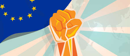 boycott: Europe fight and protest independence struggle rebellion show symbolic strength with hand fist illustration and flag