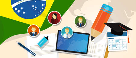 Brazil education school university concept with icon laptop paper pencil cap student