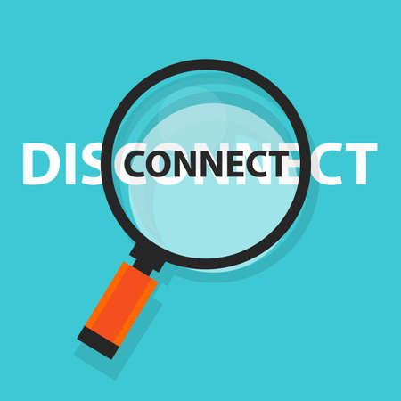 internet business: Connectdisconnect concept technology internet business analysis magnifying glass symbol.