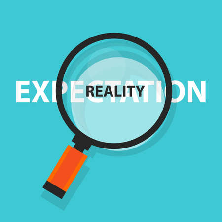 Expectation versus reality concept business analysis magnifying glass symbol.