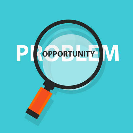 business opportunity: opportunity in problem concept business analysis magnifying glass symbol