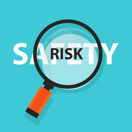 Risk and safety concept business analysis magnifying glass symbol. Ilustrace