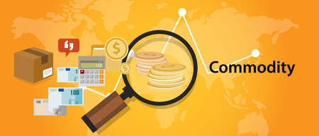 Commodity trading market investment concept in economy Illustration