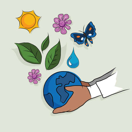 hand houden globe ecologie moeder aarde concept van ecologie mooie leven ecosysteem tekening schets in kleur Vector Illustratie