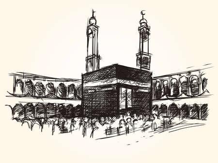Kaaba heilig symbolisch gebouw in islam vector schets tekening bedevaart hajj Stockfoto - 74913810