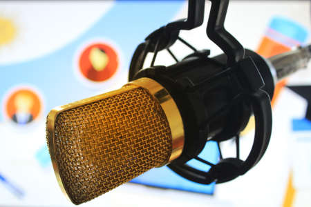 newscast: public relations PR microphone for news global map world press people talking Stock Photo