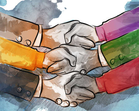 business agreement: hand shake business concept of partnership deal agreement together lot of hand as a team multilateral trade
