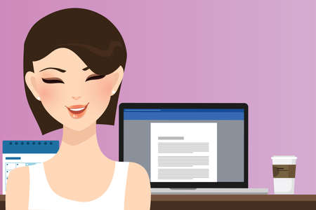 beautiful smile: woman smile in front of computer working in office home as copy writer illustration of beautiful happy girl or student. Illustration