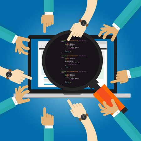 Software-Review-Tests Codierung und Programmierung Leistung Benutzerakzeptanztest UAT Client Revision Hand näheres Hinsehen mit Lupe