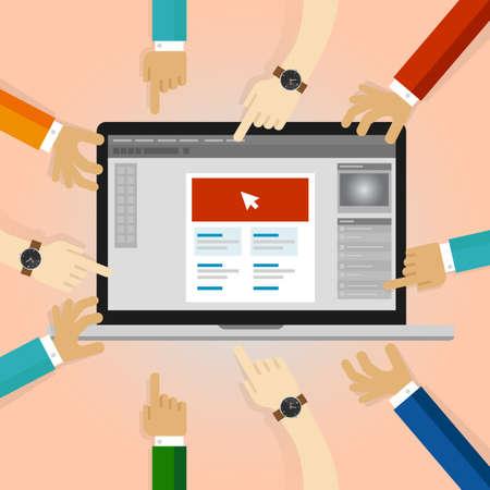cliente revisione progettazione grafica collaborazione molte mani che lavorano su applicazione nel computer portatile. revisione commenti dei feed-back degli utenti